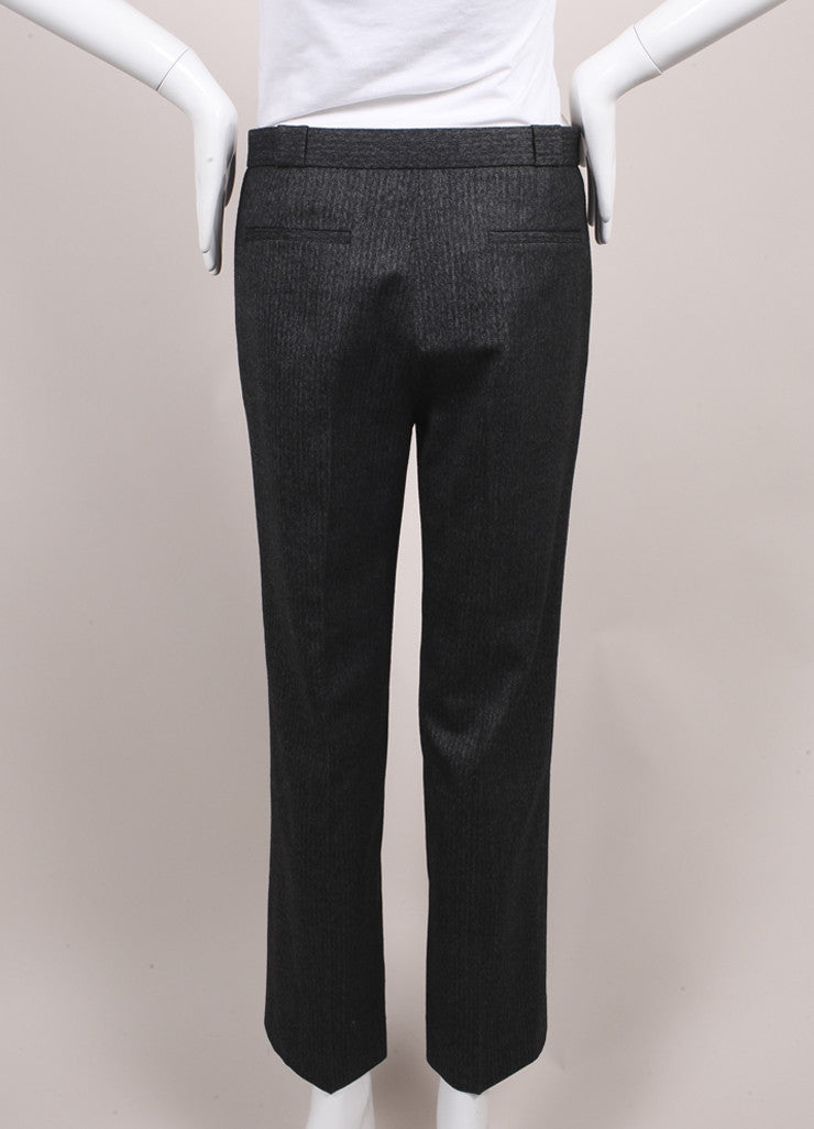 "The Row New With Tags Charcoal Grey Herringbone Wool ""Inoma"" Ankle Trousers Backview"