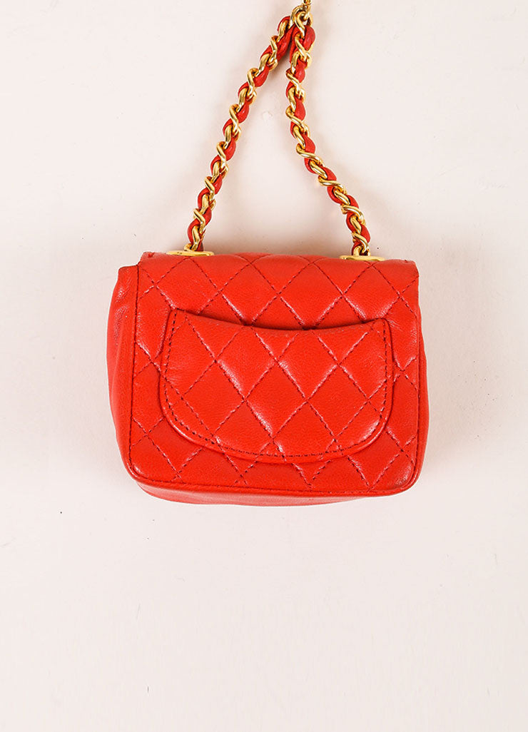 Chanel Red Mini Lambskin Flap Bag Belt Bag Backview