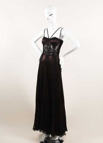 Versace Brown and Black Silk Lace Pleated Sleeveless Gown Sideview