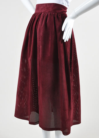 "Wine Red Vilshenko Suede Perforated ""Jerry"" Split Full Skirt Front"