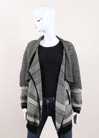 Yigal Azrouel Black and Cream Graphic Jacquard Knit Drape Cardigan Frontview
