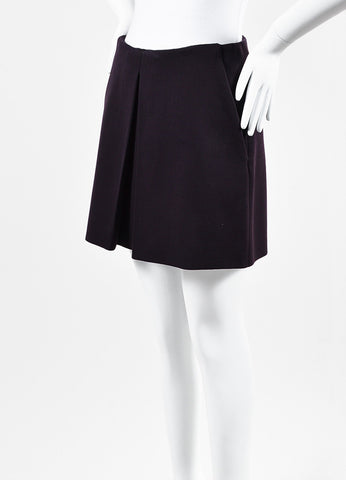 Alexander McQueen Dark Purple Wool Blend Inverted Pleat Mini Skirt Sideview