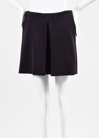Alexander McQueen Dark Purple Wool Blend Inverted Pleat Mini Skirt Frontview