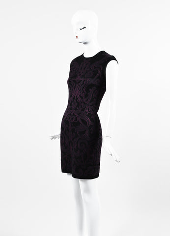 Alexander McQueen Black and Purple Wool Floral Jacquard Sleeveless Sheath Dress Sideview