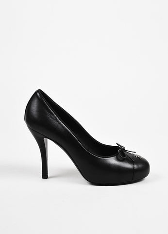 Chanel 12A Black Leather 'CC' Cap Toe Platform Pumps Sideview
