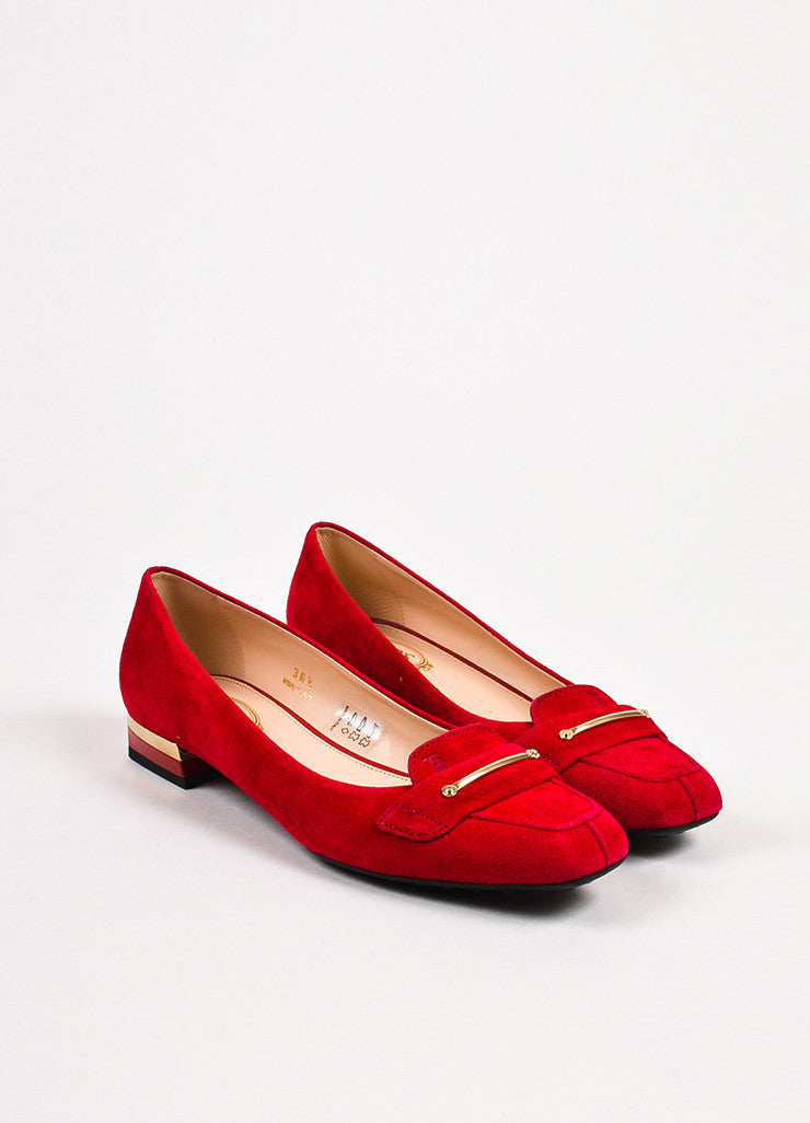 "Tod's ""Fragola"" Red Gold Suede Heeled ""Gomma"" Flats Frontview"
