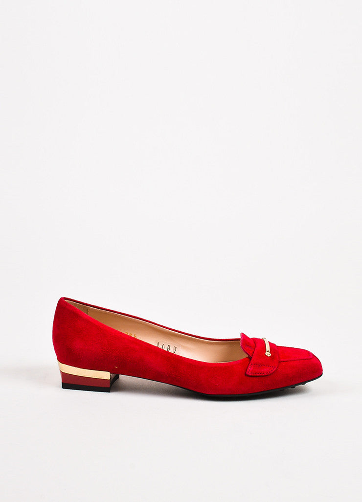 "Tod's ""Fragola"" Red Gold Suede Heeled ""Gomma"" Flats Sideview"