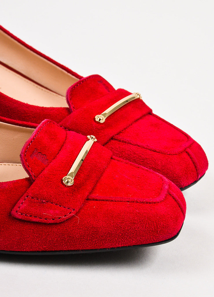 "Tod's ""Fragola"" Red Gold Suede Heeled ""Gomma"" Flats Detail"