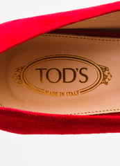 "Tod's ""Fragola"" Red Gold Suede Heeled ""Gomma"" Flats Brand"