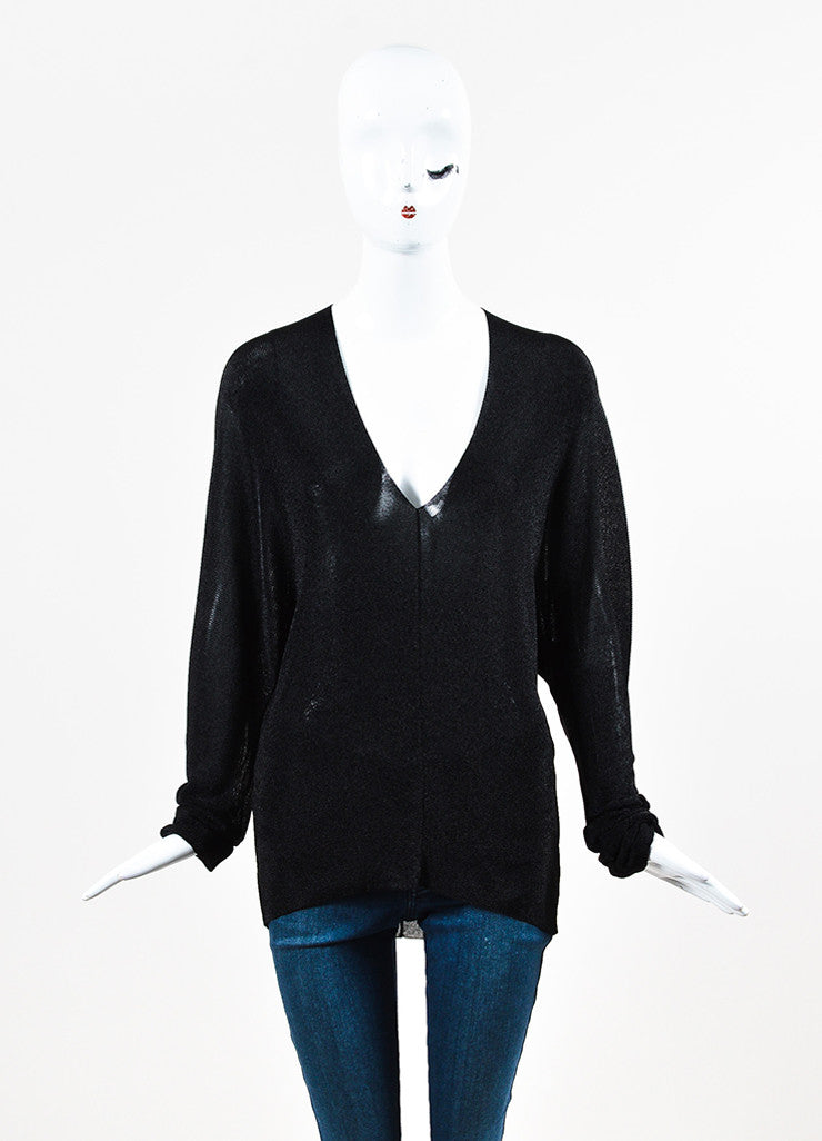 Gucci Black Metallic Ribbed Knit V Neck Semi Sheer Long Sleeve Top  Frontview