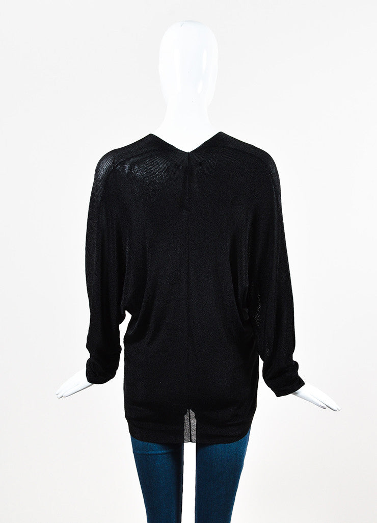 Gucci Black Metallic Ribbed Knit V Neck Semi Sheer Long Sleeve Top Backview