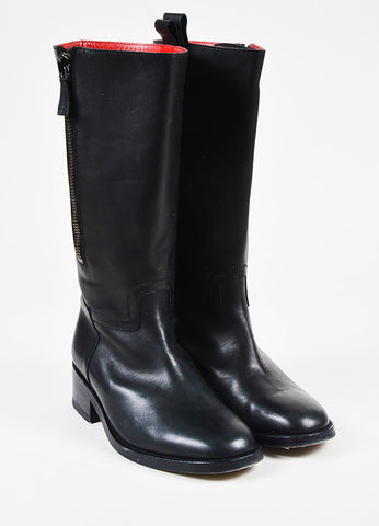 Chanel Black Leather Low Heel Knee High Zip Up Boots Frontview