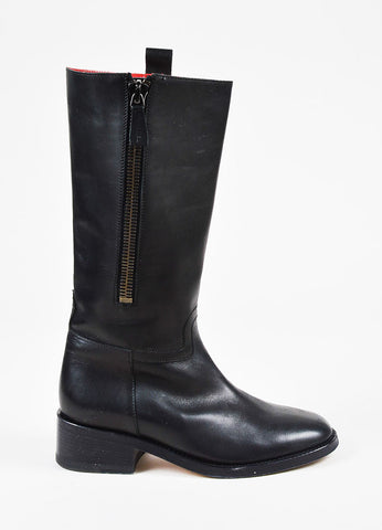 Chanel Black Leather Low Heel Knee High Zip Up Boots Sideview