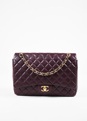"Chanel 12A ""Burgundy"" Caviar Leather ""Classic Maxi Double Flap"" Bag Frontview"