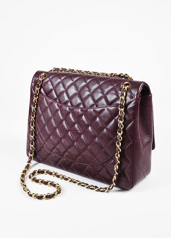 "Chanel 12A ""Burgundy"" Caviar Leather ""Classic Maxi Double Flap"" Bag Sideview"