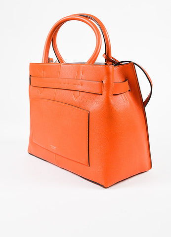 "Reed Krakoff ""RK40"" Orange and Grey Leather and Suede Tote Sideview"