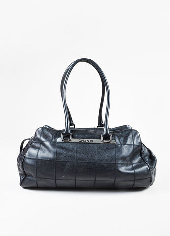 Chanel Black Pebbled Leather Square Quilted Double Handle Bowler Bag Frontview