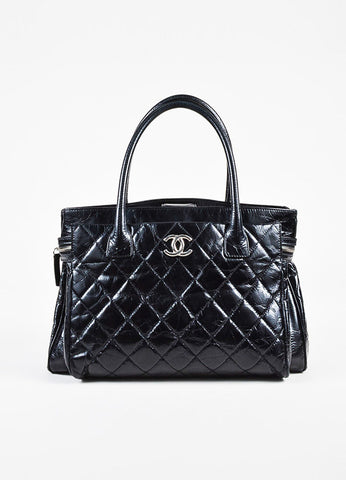 "Chanel ""Executive"" Black Glazed Leather Quilted Tote Bag Frontview"