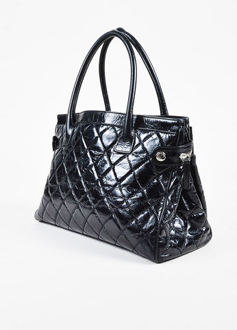 "Chanel ""Executive"" Black Glazed Leather Quilted Tote Bag Sideview"