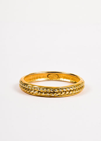 Chanel Gold Toned Braid Textured Bangle Bracelet Frontview