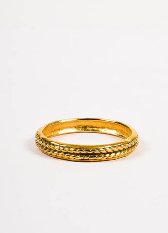 Chanel Gold Toned Braid Textured Bangle Bracelet Backview