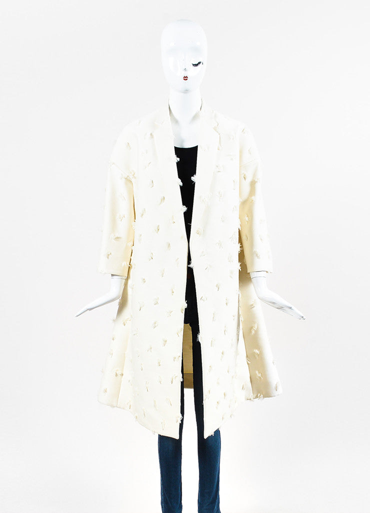 Celine Cream Wool Silk Frayed Dot Double Breasted Tailored Coat Frontview