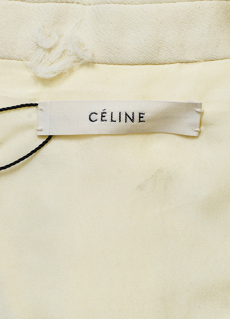 Celine Cream Wool Silk Frayed Dot Double Breasted Tailored Coat Brand