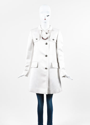 Gucci Cream Silk 'GG' Buttons Military Style Pea Coat Frontview 2