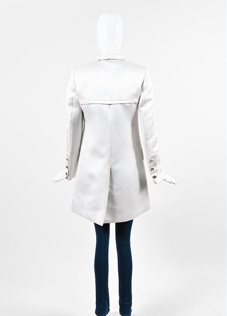 Gucci Cream Silk 'GG' Buttons Military Style Pea Coat Backview