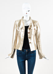 Chanel Gold Metallic Silk Gripoix Button Tailored Short Jacket Frontview