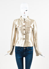 Chanel Gold Metallic Silk Gripoix Button Tailored Short Jacket Frontview 2