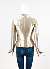 Chanel Gold Metallic Silk Gripoix Button Tailored Short Jacket Backview