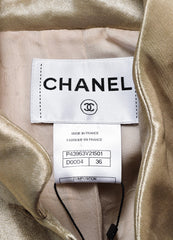 Chanel Gold Metallic Silk Gripoix Button Tailored Short Jacket Brand