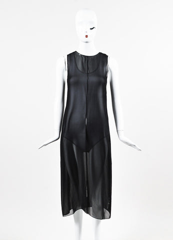 The Row Black Silk Sheer Sleeveless Split Midi Dress Frontview