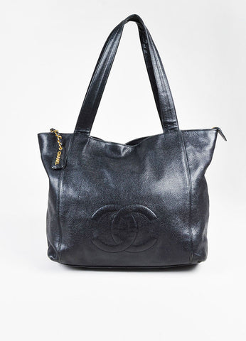 Chanel Black Caviar Leather 'CC' Double Handle Tote Bag Frontview
