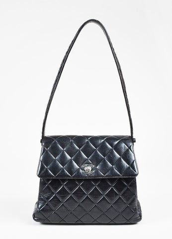 Chanel Black Quilted Lambskin Front Flap 'CC' Shoulder Bag Frontview