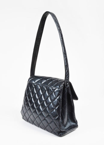 Chanel Black Quilted Lambskin Front Flap 'CC' Shoulder Bag sideview