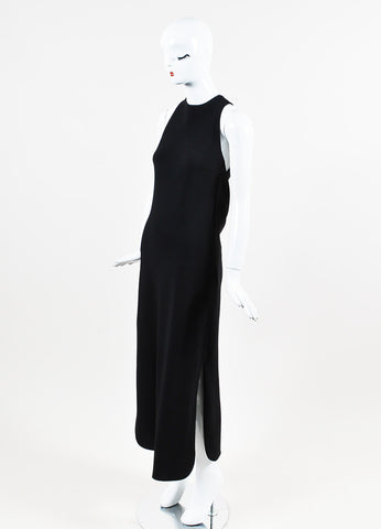 Celine Black Crepe Criss Cross Back Cowl Drape Floor Length Dress Sideview