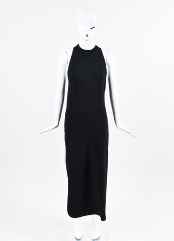 Celine Black Crepe Criss Cross Back Cowl Drape Floor Length Dress Fronview
