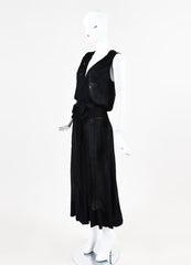Chanel Spring 2008 Black Jersey Knit Sheer Smocked Bow Dress Sideview