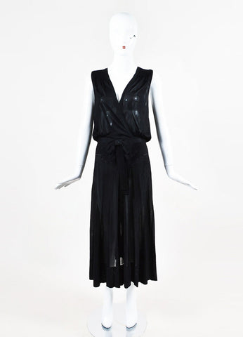 Chanel Spring 2008 Black Jersey Knit Sheer Smocked Bow Dress Frontview