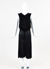Chanel Spring 2008 Black Jersey Knit Sheer Smocked Bow Dress Backview