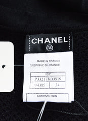 Chanel Spring 2008 Black Jersey Knit Sheer Smocked Bow Dress Brand