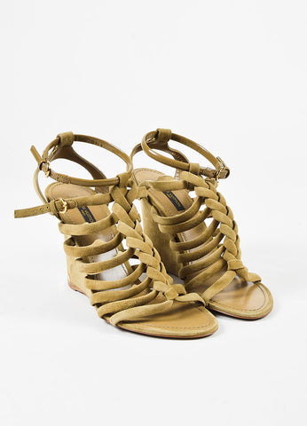 "Louis Vuitton ""Mabillon"" Olive Green Suede Braided Strappy Wedge Sandals Frontview"