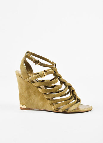 "Louis Vuitton ""Mabillon"" Olive Green Suede Braided Strappy Wedge Sandals Sideview"