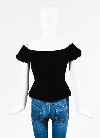 Christian Dior Black Velvet Gathered Cap Sleeve Button Corset Top Sideview