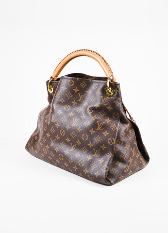 "Louis Vuitton ""Artsy MM"" Brown Coated Canvas Monogram Shoulder Bag Sideview"