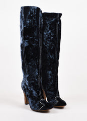 Bottega Veneta Blue Crushed Velvet Embroidered Heel Boots Frontview
