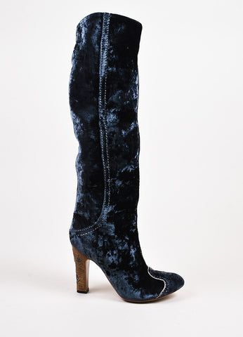 Bottega Veneta Blue Crushed Velvet Embroidered Heel Boots Sideview