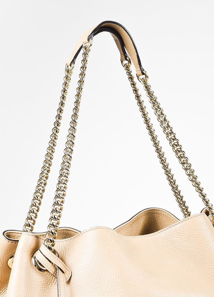 "Gucci Beige Pebbled Leather Gold Toned Chain Link Fringe Tassel ""Soho"" Tote Bag Detail 2"